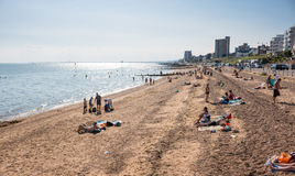 Beach in Southend on sea in summer day. Southend on sea, UK - June 18, 2017: Beach in summer sunny day Royalty Free Stock Image