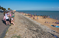 Beach in Southend on sea in summer day. Southend on sea, UK - June 18, 2017: Beach in summer sunny day Stock Images