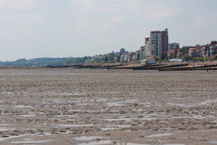 Beach in Southend on sea in summer day. Southend on sea, UK - June 18, 2017: Beach in summer sunny day during tide out Stock Image