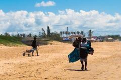 Beach souvenir seller in Mozambique royalty free stock photography