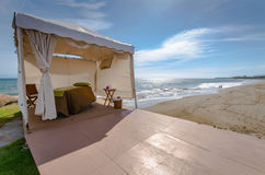 Beach Spa Cabana. White tent cabana set up for spa treatment on beach in Puerto Vallarta, Mexico Royalty Free Stock Photo