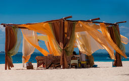 Beach spa massage tent on a Caribbean beach. A perceft spa on the tropical Caribbean beach in Mexico, Isla Mujeres. Perfect for relaxation after a hot day on the Stock Photo