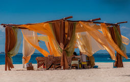Beach spa and massage tent in the Caribbean. A perceft spa on the tropical Caribbean beach in Mexico Stock Photos