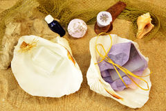 Beach spa sand background Royalty Free Stock Images