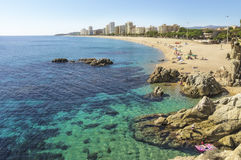 Beach in Spain in autumn. (Costa Brava, Playa dе Aro Royalty Free Stock Photography