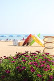 Beach in Spain. Flowers, bouts and umbrellas Royalty Free Stock Photos
