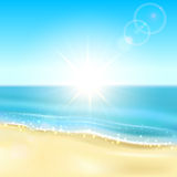 Beach and sparkling ocean Royalty Free Stock Images