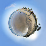 Beach sphere. View of tropical beach micro sphere with coconut palm trees Royalty Free Stock Image