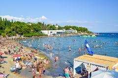 The beach of Split. Split, Croatia - July 10, 2018: Tourists on the city beach stock images