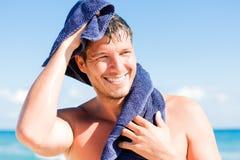 Beach sport towel man Stock Images