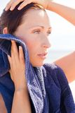 Beach sport towel woman Royalty Free Stock Image