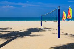 Beach Sports. Early morning resort beach sports equipment and activities at the ready royalty free stock photography