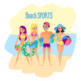 Beach sports. Four young people on the beach. Group of summer friendship. Vector illustration Stock Photography