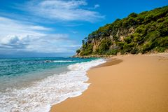 The beach St.Cristina in Lloret de Mar. Spain Royalty Free Stock Image