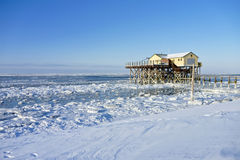 Beach of St. Peter-Ording in winter Royalty Free Stock Images
