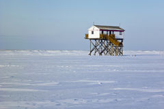 Beach of St. Peter-Ording in Winter Royalty Free Stock Photo