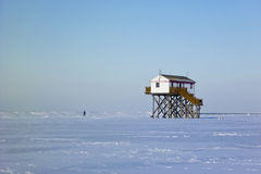 Beach of St. Peter-Ording in Winter Royalty Free Stock Photography