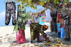 Beach stall. Stall on the beach of Zanzibar Royalty Free Stock Image