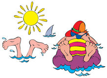 Beach stickers. Vector clip-arts / illustrations for your design Royalty Free Stock Images
