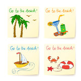 Beach stickers with hand drawn elements Royalty Free Stock Image