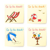 Beach stickers with hand drawn elements Stock Photo