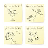 Beach stickers with hand drawn elements Royalty Free Stock Images