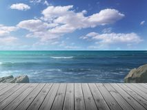 Beach still life with boardwalk. On a sunny afternoon in summer stock image