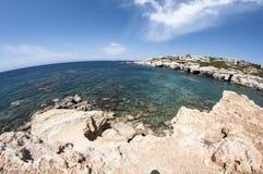 Azure lagoon. Stone beach in North Cyprus Stock Image