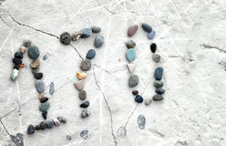 Beach stones number Royalty Free Stock Photos