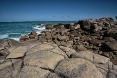 Beach and Stones at the Pink Granite Coast in Brittany France Stock Images