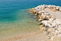 Beach with stones on Podgora, Croatia Royalty Free Stock Photo