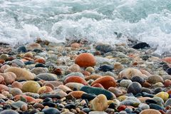 Beach Stones & Waves, Lake Superior, Ontario royalty free stock images