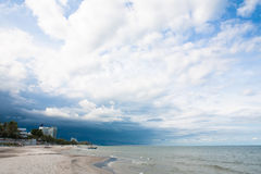 Beach Storm is coming overcast royalty free stock photo