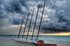 The beach after the storm. In Varadero Cuba stock photo