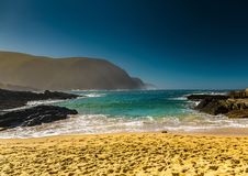 Beach at the Storms River Mouth at the Indian Ocean. In South Africa Royalty Free Stock Photos