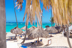 Beach with straw umbrellas in punta cana Royalty Free Stock Photos