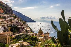 Positano on Amalfi Coast near Naples in Italy. Beach streets and colorful houses on the hill in Positano on Sorrento Peninsula in South Italy Royalty Free Stock Photos