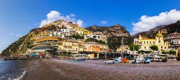 Positano on Amalfi Coast near Naples in Italy. Beach streets and colorful houses on the hill in Positano on Sorrento Peninsula in South Italy royalty free stock image