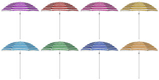 Beach striped umbrellas - colorful Royalty Free Stock Photography