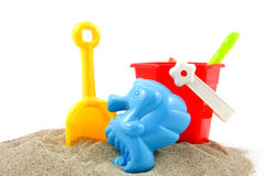 Beach stuff. Plastic colorful play toys at the beach stock photo