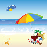 Beach with stuff art vector illustration Stock Photography