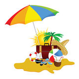 Beach with stuff art vector illustration part five Royalty Free Stock Images