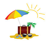 Beach stuff color vector on a white background Stock Photography