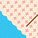 Beach stuff with deckchair and sea leisure illustration. In colorful Stock Image