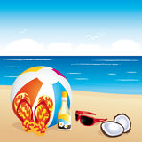 Beach stuff on sand. Holiday illustration.. Royalty Free Stock Photos