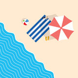 Beach stuff with towel leisure illustration. In colorful Royalty Free Stock Image