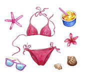 Beach stuff, travel set, watercolor objects of vacation: bikini, shells, sunglasses, plumeria flower, ice0cream and starfish Stock Photo