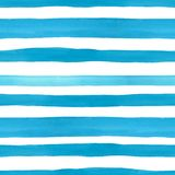 Beach style seamless pattern with watercolor blue horizontal bright stripes on white background. Summer hand drawn texture stock illustration