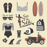 Beach style. Surfer girl retro vector set. Vintage surf elements Stock Photos