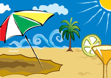 Beach Summer. Illustrated beach with umbrella and cocktail Royalty Free Stock Photo